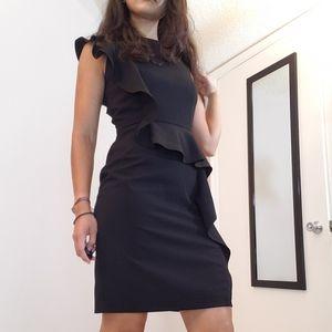 Calvin Klein black ruffled black dress